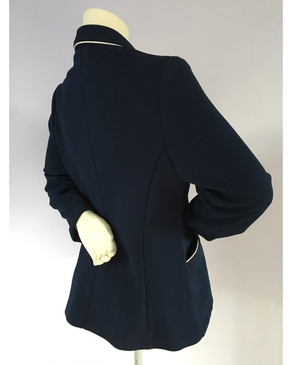 Vintage 1960s Preppy Navy Blue Nautical Sailor Bl… - image 6