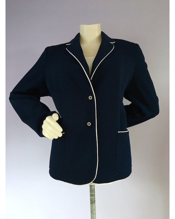 Vintage 1960s Preppy Navy Blue Nautical Sailor Bl… - image 7
