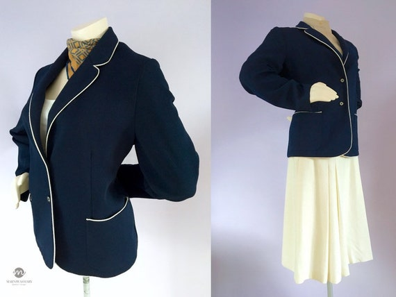 Vintage 1960s Preppy Navy Blue Nautical Sailor Bl… - image 1