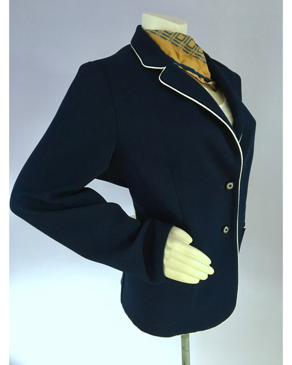 Vintage 1960s Preppy Navy Blue Nautical Sailor Bl… - image 8