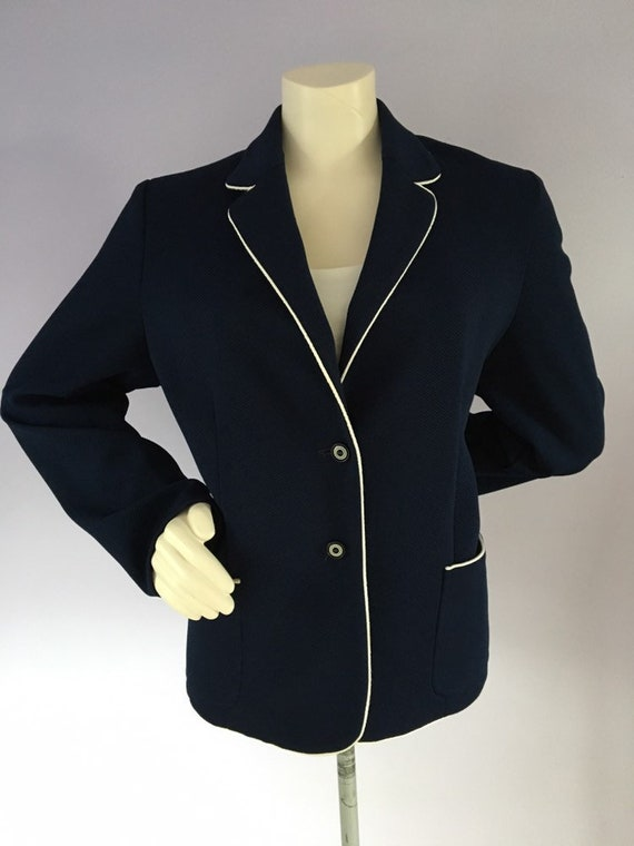 Vintage 1960s Preppy Navy Blue Nautical Sailor Bl… - image 2