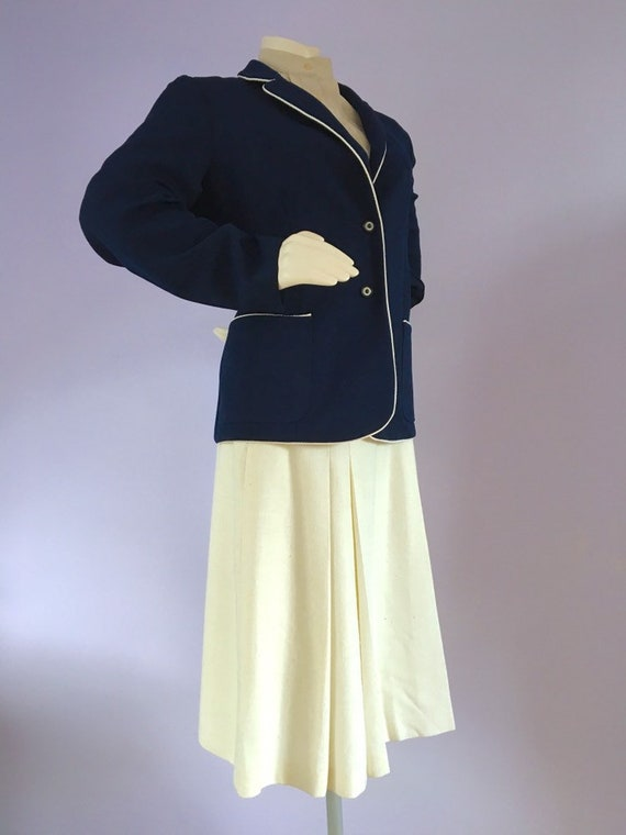 Vintage 1960s Preppy Navy Blue Nautical Sailor Bl… - image 10