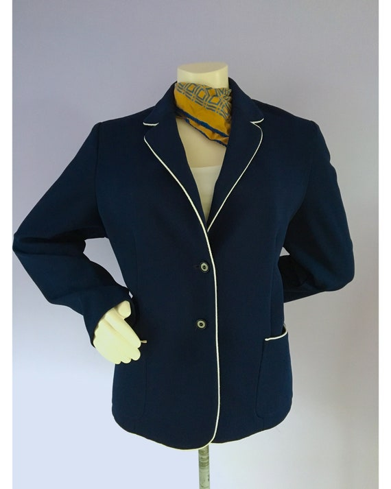 Vintage 1960s Preppy Navy Blue Nautical Sailor Bl… - image 5