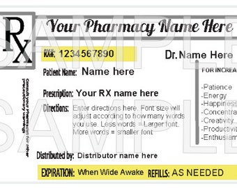 Printable Customizable RX Label 2 x 3 Inch