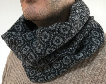 Mens knitted snood, mens lambswool snood, knitted cowl, lambswool snood, fathers day gift, lambswool cowl, mens cowl, mens scarf