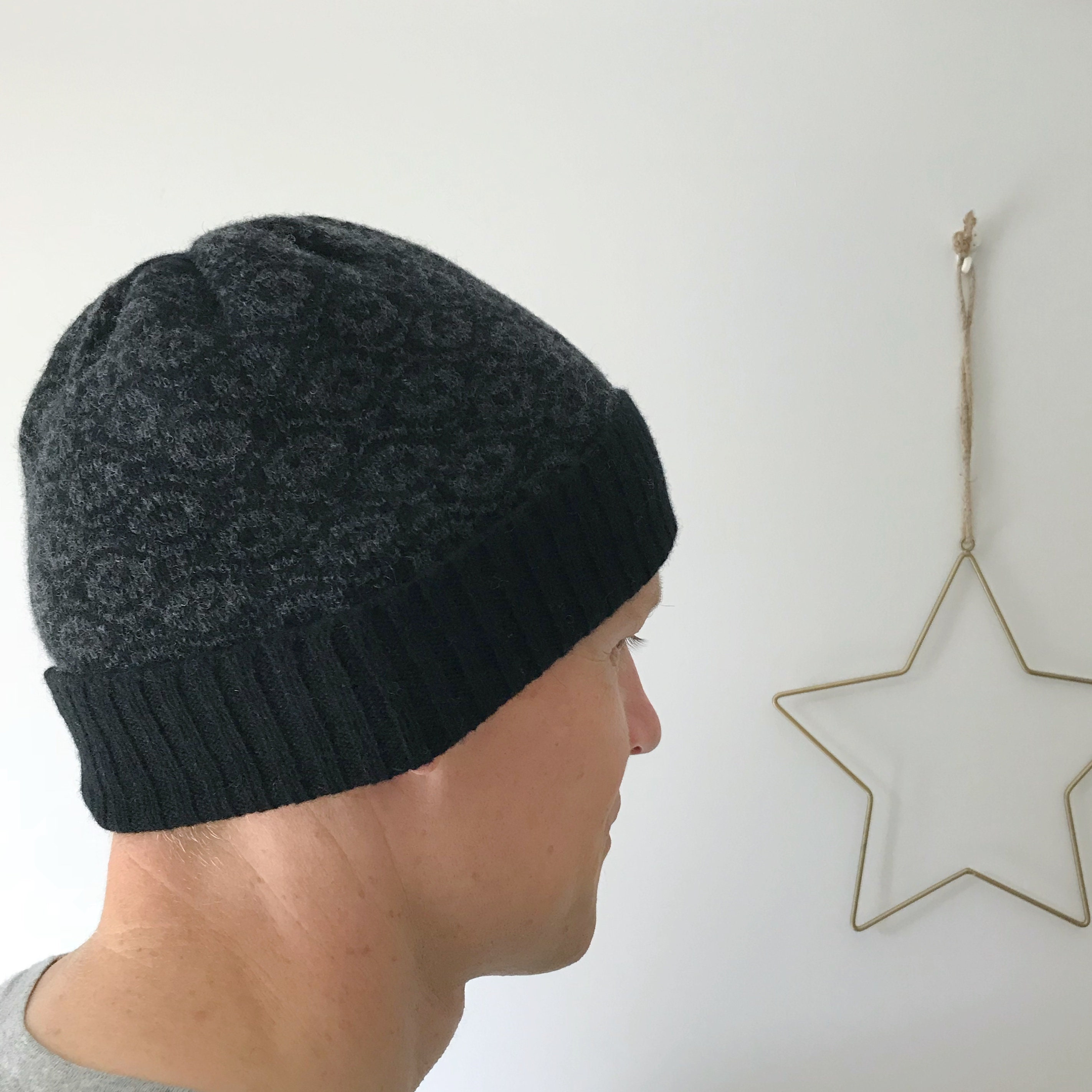 Men s black lambswool beanie hat men s beanie hat  f2cc11b27df