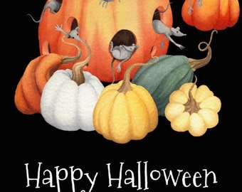 Happy Halloween Mice and Pumpkin Harvest REPRO Postcard R252814