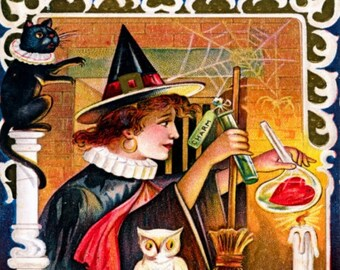 Halloween, Witches Test Lovers Hearts REPRO Vintage Postcard Z402226