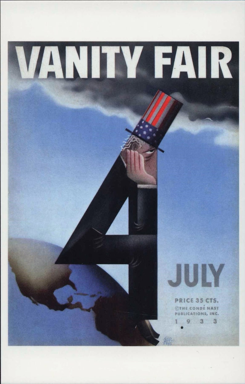 Fashion Uncle Sam Vintage Style Modern Postcard R495756 Cover Art Vanity Fair Magazine July 4