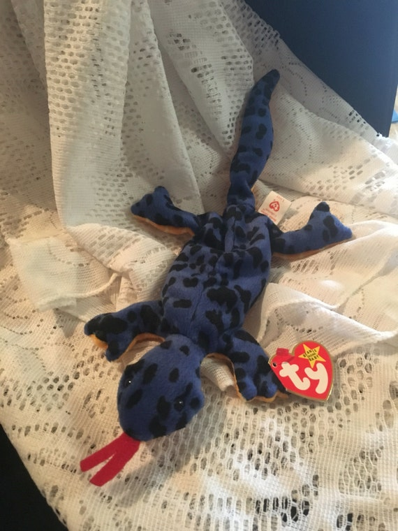 ac984355a04 TY Beanie Baby Rare Lizzy the Blue Lizard