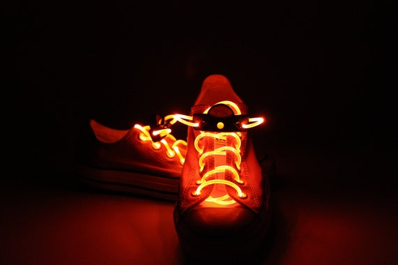 82afd91335299 Orange Light Up Shoe Laces with 2032 Lithium Battery