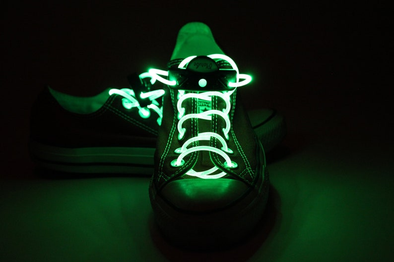 a2e72fb6432d0 Green Light Up Shoe Laces with 2032 Lithium Battery