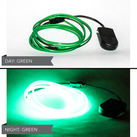 4 Foot LED El Wire Kit with 2032 Lithium Battery Pack - Dark Green  (Batteries Not Included) - EDM, EDC, Burning Man