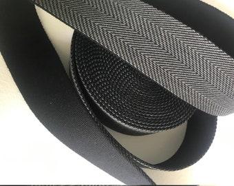 Webbing herringbone black 40 mm