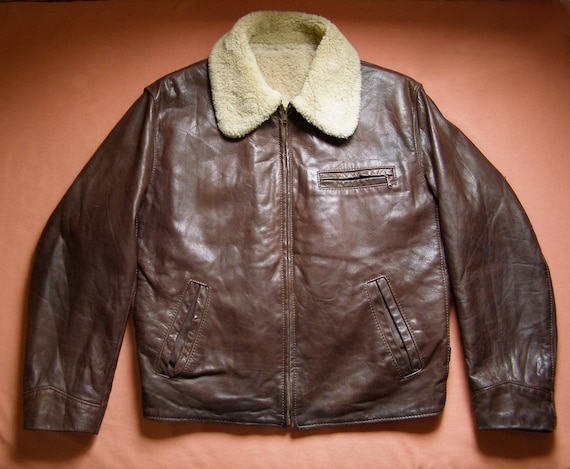60s/70s half-belt aviator jacket