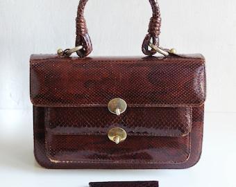 Vintage Snake Skin handbag + purse