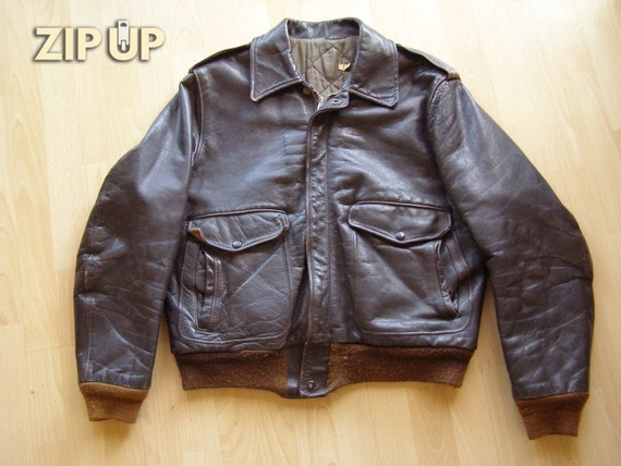 50s/60s steerhide leather 674 flight jacket - image 1