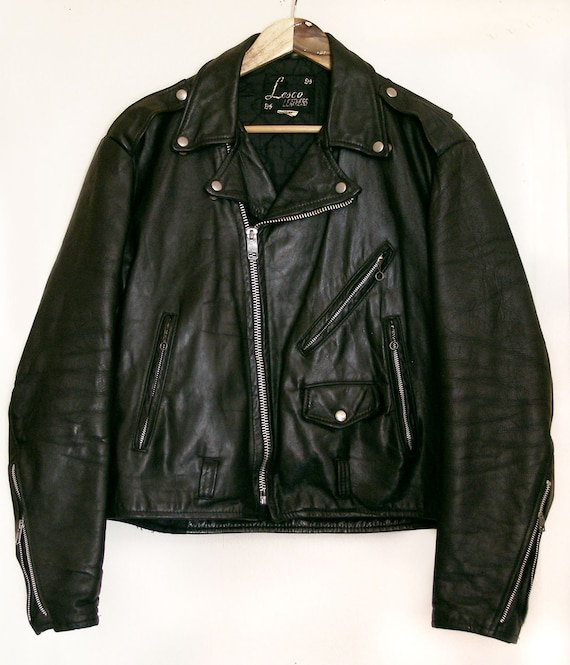 70's thick leather motorcycle jacket by Lesco