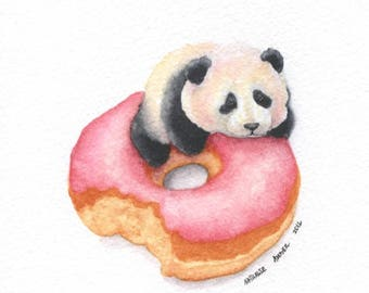 Baby Panda and Strawberry Doughnut - ORIGINAL Painting (Colorful Wall  Art) A5 size. Not a Print.