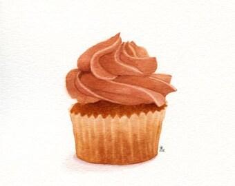 Coffee Cream Cupcake - ORIGINAL Painting (Dessert Illustration, Still Life, Watercolour Food Wall Art) A5. Not a Print.