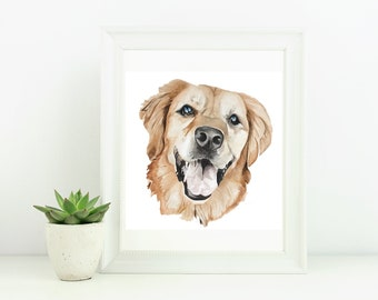 Custom Pet Portrait Watercolor Painting, Dog Artwork, Cat Wall Art, Wedding Pet Portrait, Pet Memorial Gift, Animal Art
