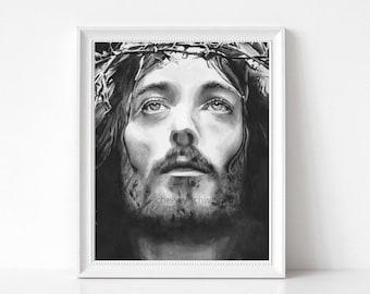 Jesus Wall Art, Jesus Head Painting, Christian Wall Art, Jesus Picture, Jesus Painting, Religious Art, Catholic Decor