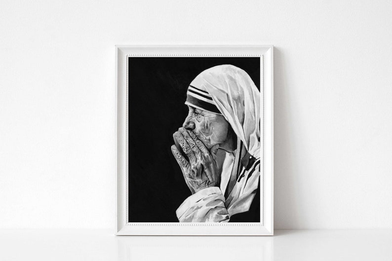 Mother Teresa Art Watercolor Painting Print  Religious Icon  image 1