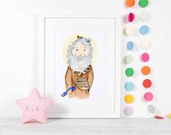 Noahs Ark Watercolor Print Religious Art Prints, Nursery Decor, Catholic gift, Religious Wall, Christian Biblical Gifts illustration artwork