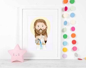 John the Baptist Watercolor Digital Print Religious Art prints, nursery decor, catholic gift, artwork, gifts childrens illustrations artwork