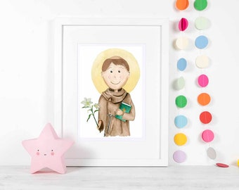 St. Anthony of Padua Religious Digital Art prints, nursery decor catholic gifts patron saint childrens illustration artwork patron icon
