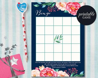 Baby Shower Bingo Card, Floral Bingo Game, Boho Baby Shower Games, Floral Baby Shower Games, Girl Baby Shower Bingo, Printable Bingo Card