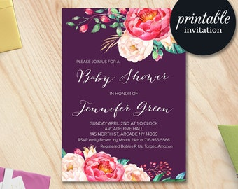 Girl Baby Shower Invitation, Floral Baby Shower Invitation Printable Baby Shower Invitation, Boho Baby Shower Invitation Pink Purple Invite