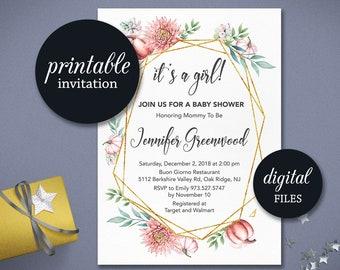 Wedding Invitations Bridal & Baby shower Invites von tranquillina