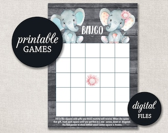 Elephant Twins Baby Shower Games Package in Pink and Gray Instant Download Seven Printable Games: Bingo 0016TP et Price is Right