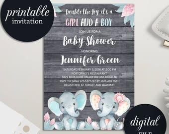 Twins Baby Shower Invitation, Elephant Baby Shower Invitation Girl Boy Twins Invitation, Safari Jungle Baby Shower Invitation Printable