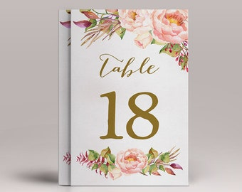 Table numbers Printable, Wedding Table Numbers, Printable Table Numbers, Floral Table Numbers 1-20 Wedding Decor, Printable Wedding Numbers