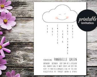 Cloud Baby Shower Invitation Printable, Black & White Baby Shower Invitation, Modern Girl Baby Shower, Boy Baby Shower Invite
