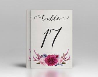 Wedding Table numbers Printable, Table Numbers 4x6in, Pink burgundy Table Numbers, Floral Table Numbers 1-20, Wedding decor, Wedding table