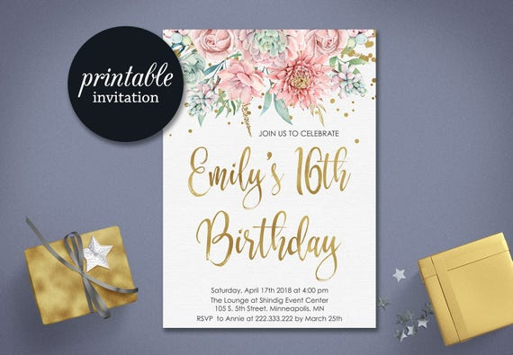 Sweet 16 birthday invitation printable sweet sixteen birthday etsy image 0 filmwisefo