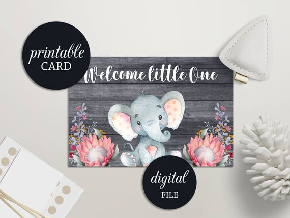 Welcome Baby Card Printable Welcome Little One Card New Baby Etsy