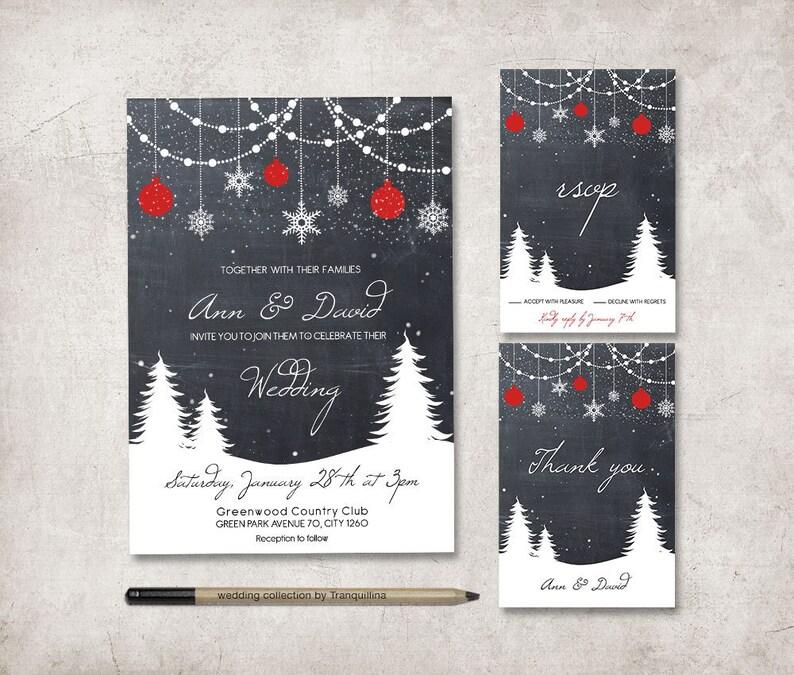 Winter Wedding Invitation Suite Printable Wedding Invitation image 0