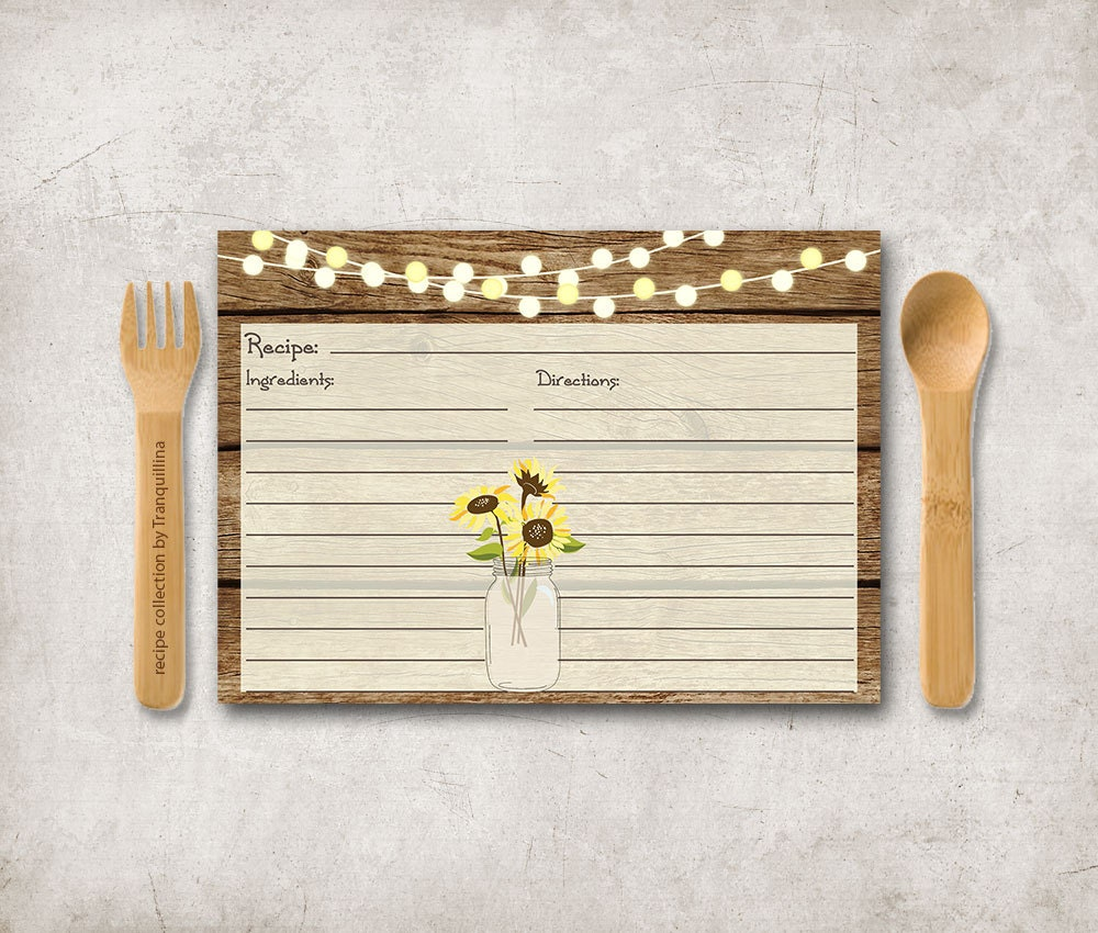 Sunflower Recipe Card Printable Rustic Recipe Cards Mason
