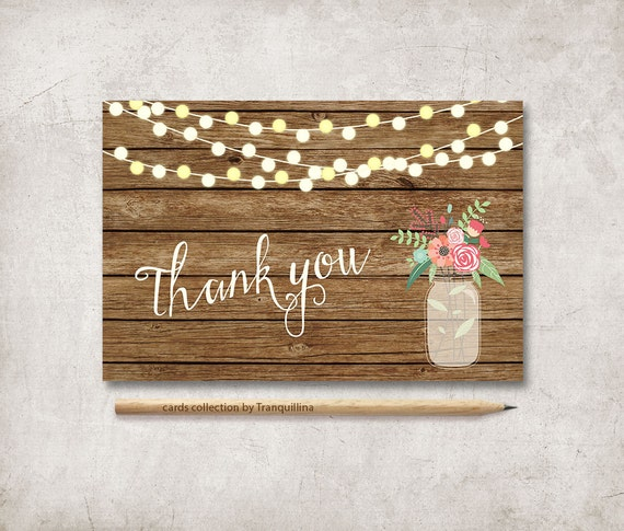 Rustic Thank You Card Printable Wedding Thank You Card Floral Etsy