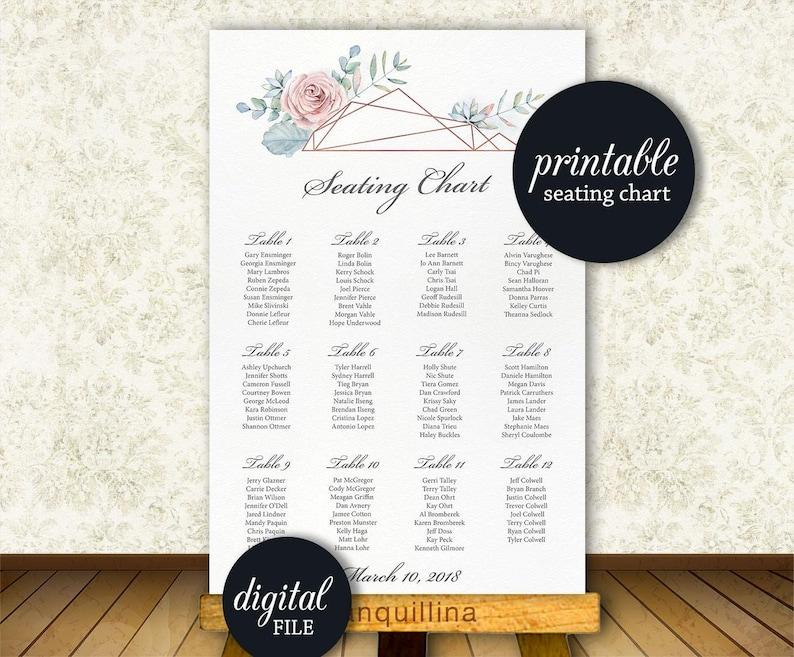 Wedding Program Printable Pink dusty blue floral Wedding Ceremony Program card Printable Program Wedding Schedule