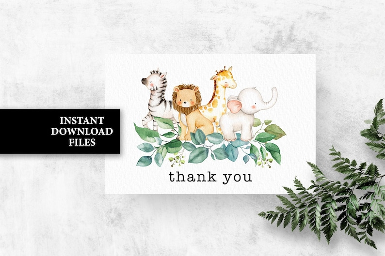 Safari jungle Baby Shower Thank you Card Printable ZOO Animals birthday Thank you note