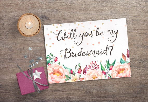 graphic regarding Printable Will You Be My Bridesmaid named Printable Will oneself be my Bridesmaid, Printable Bridesmaid Card, Confetti  Floral Bridesmaid Invitation, Boho Bridesmaid Proposal Card