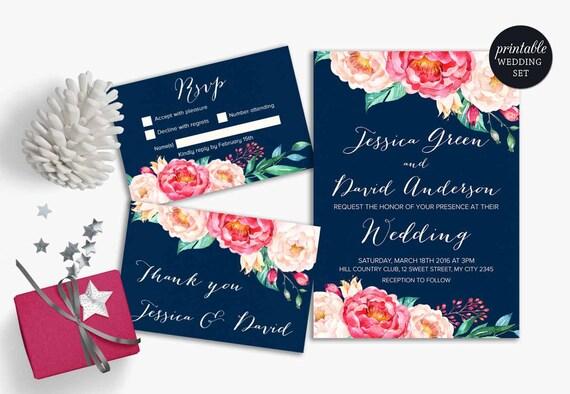 floral wedding invitation suite navy blue pink wedding invite etsy
