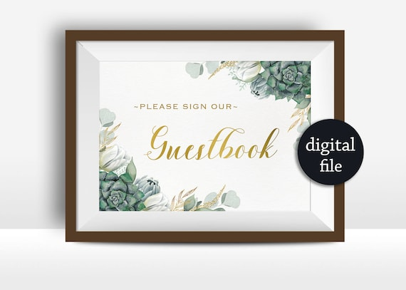Guest Book Sign Printable Floral Wedding Sign Floral Guest Etsy