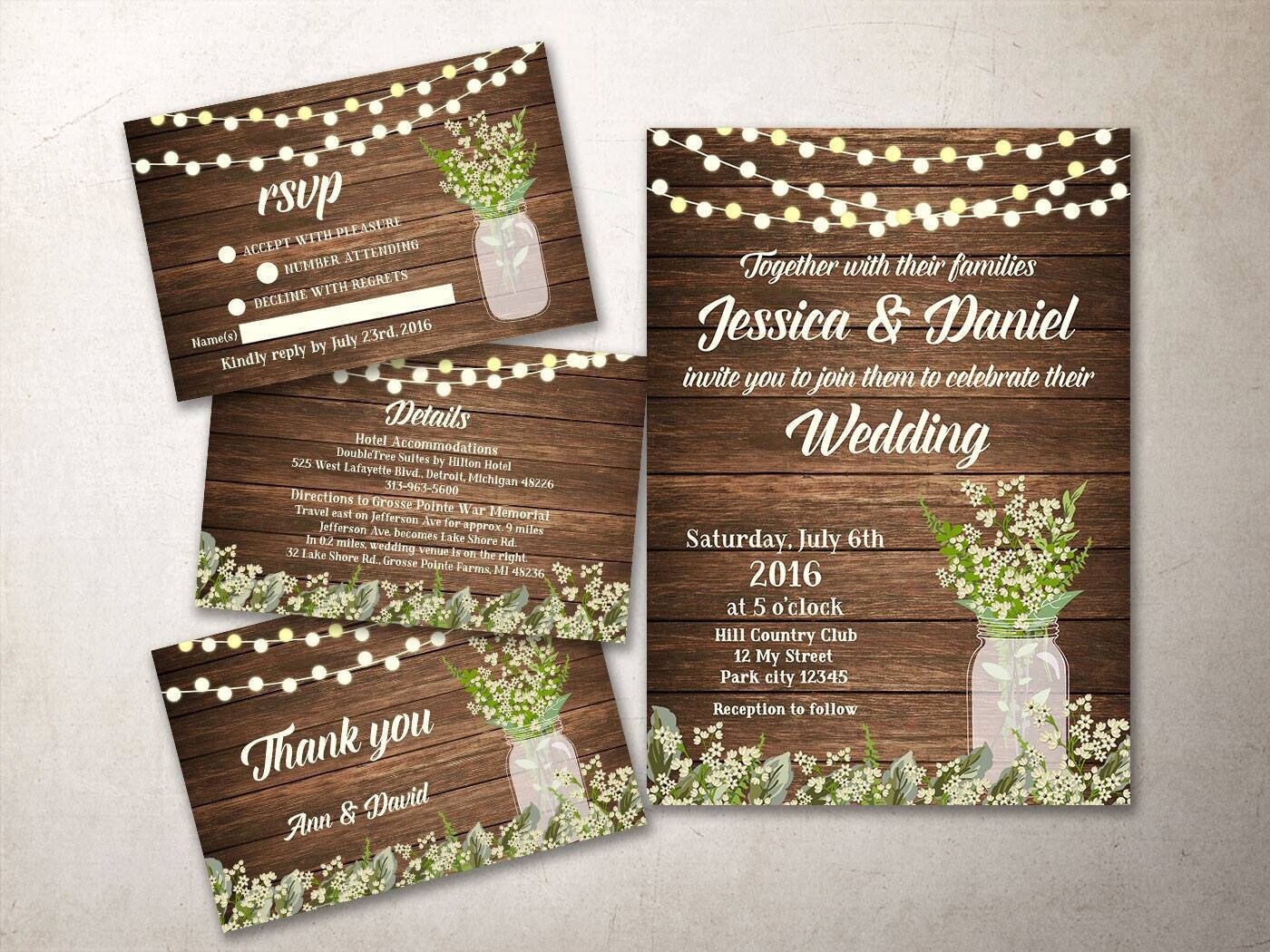 Wilton Wedding Invitations Template: Rustic Wedding Invitation Kit Printable Fall Wedding