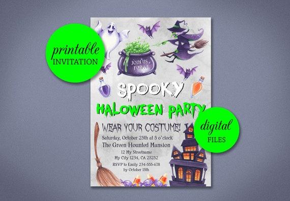 kids halloween invitation halloween party invite haunted etsy